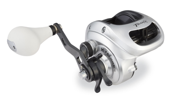 Shimano's Tranx reel holds 420 yards of 50-pound Power Pro braid and is a hybrid conventional reel that blends a baitcaster style with big reel gearing.