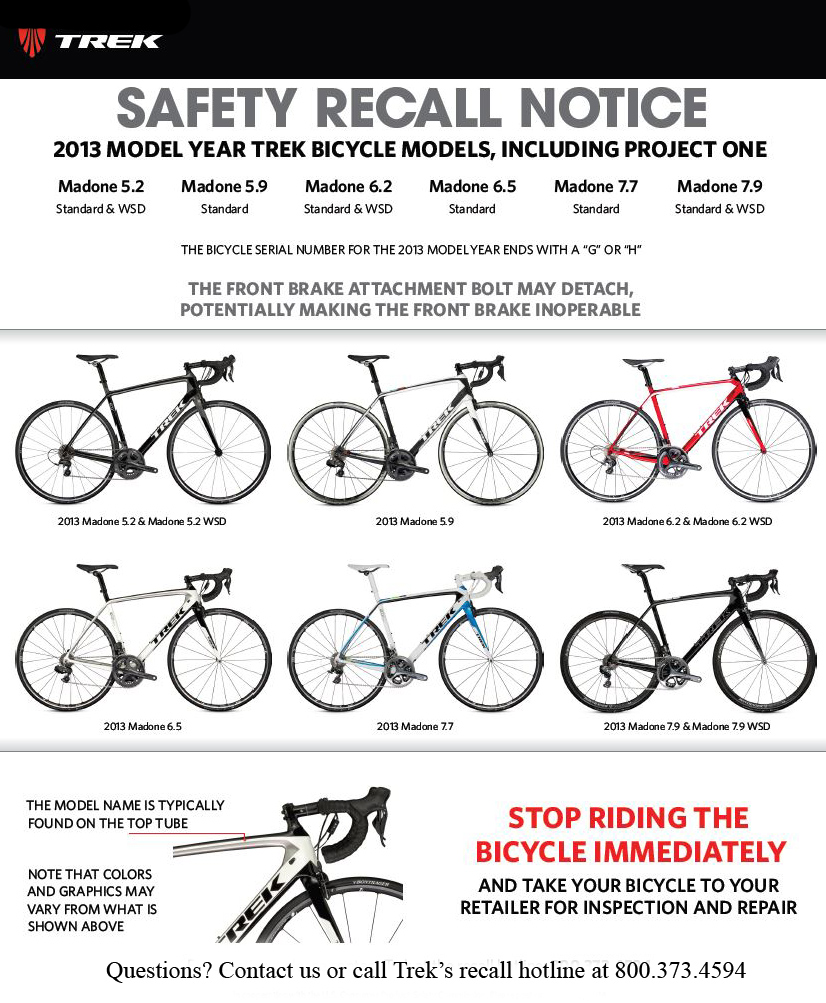 2013 Trek Madone Bicycle Recall