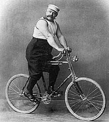 277-pound Georg Jagendorfer on a bamboo bicycle about 1897 (photo from Pryor Dodge's book The Bicycle)