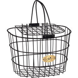 Nantucket Bike Basket Co. Surfside Adult Wire D-Shape Basket w/Lid