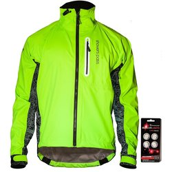 Showers Pass Men's Hi-Vis Elite E-Bike Jacket w/Red LED Beacon Lights