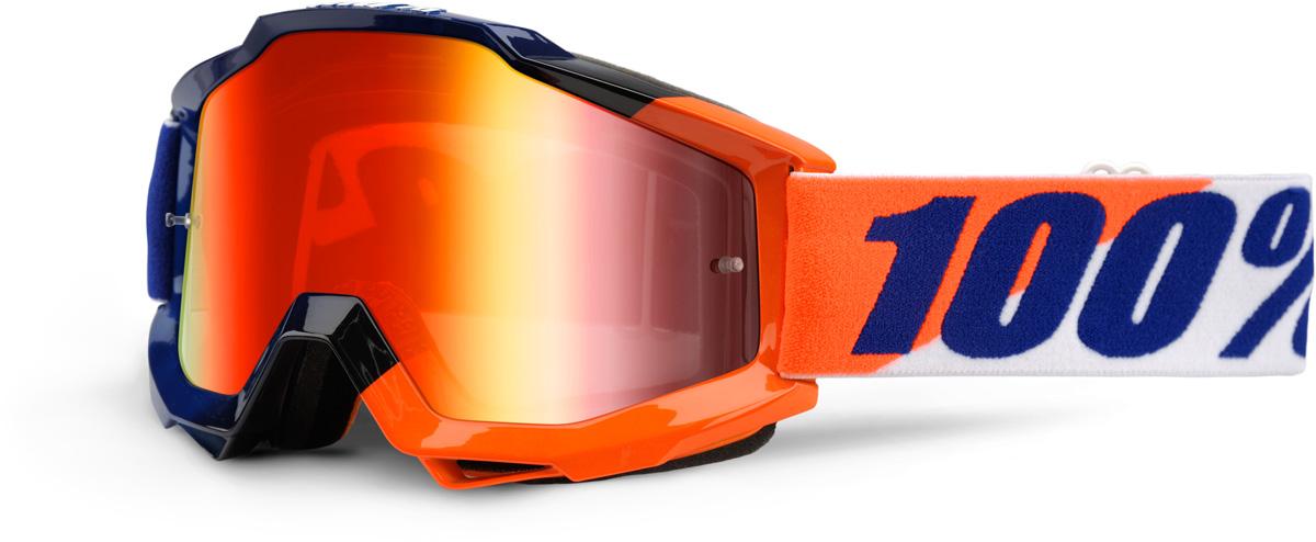 100/% MX Motocross ACCURI Goggles Gunmetal w// Anti-Fog Red Mirror Lens
