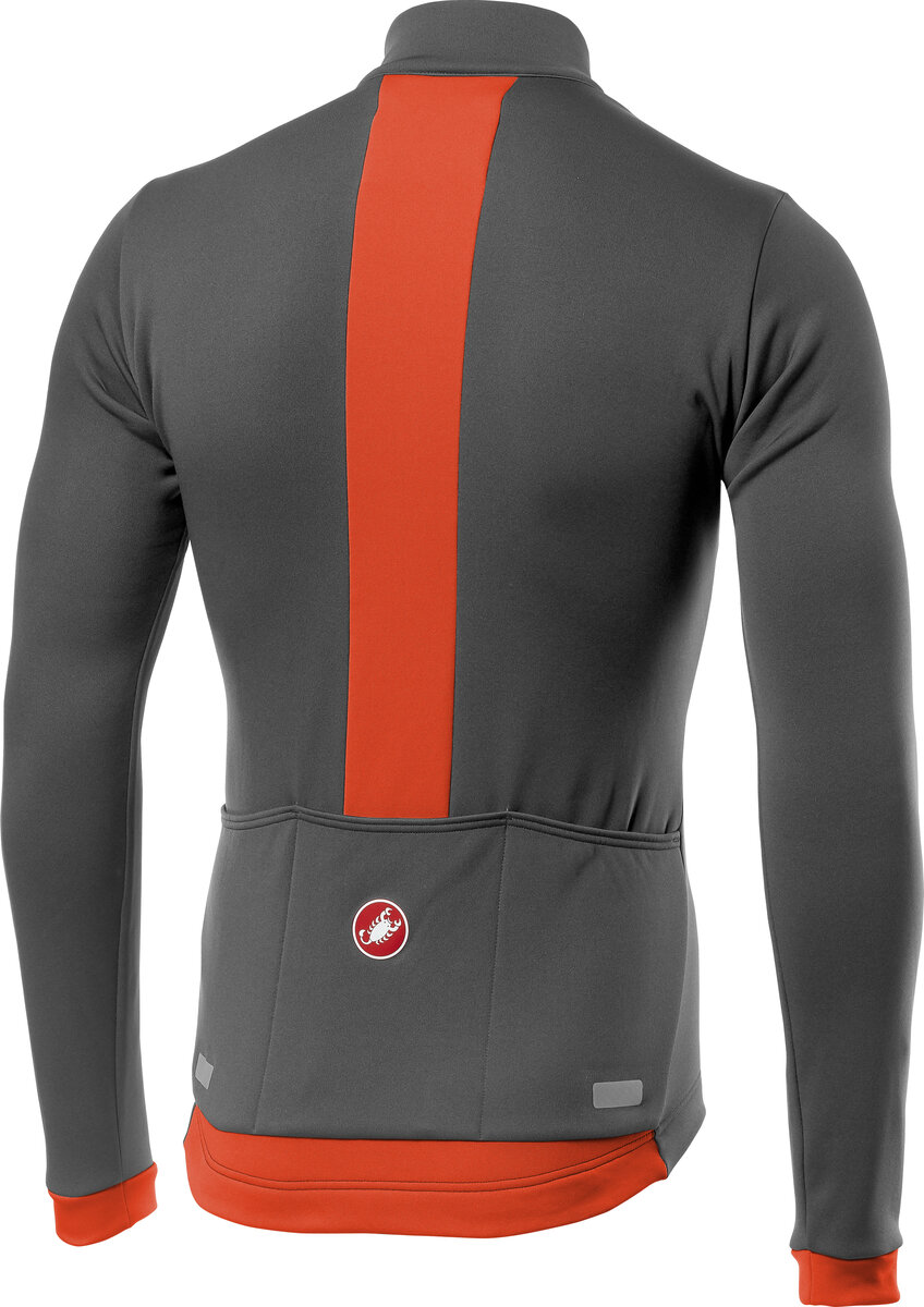 Castelli FONDO Thermal Full Zip Long Sleeve Cycling Jersey DARK GREY//ORANGE