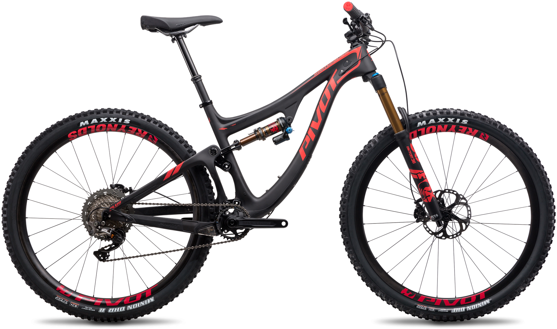 Pivot switchblade full suspension mountain bike in black and red