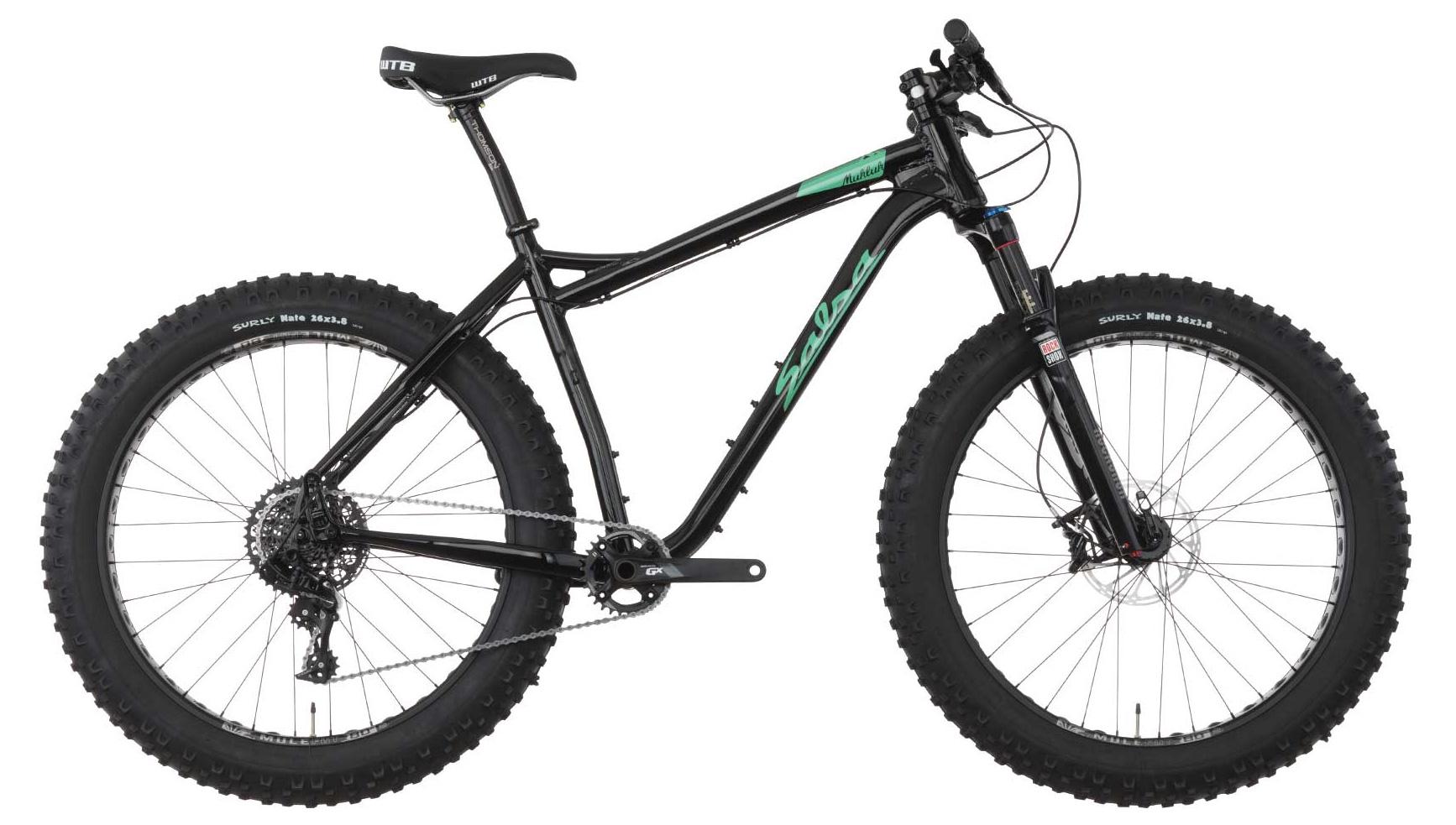 black salsa mukluk fat tire bike with front suspension fork