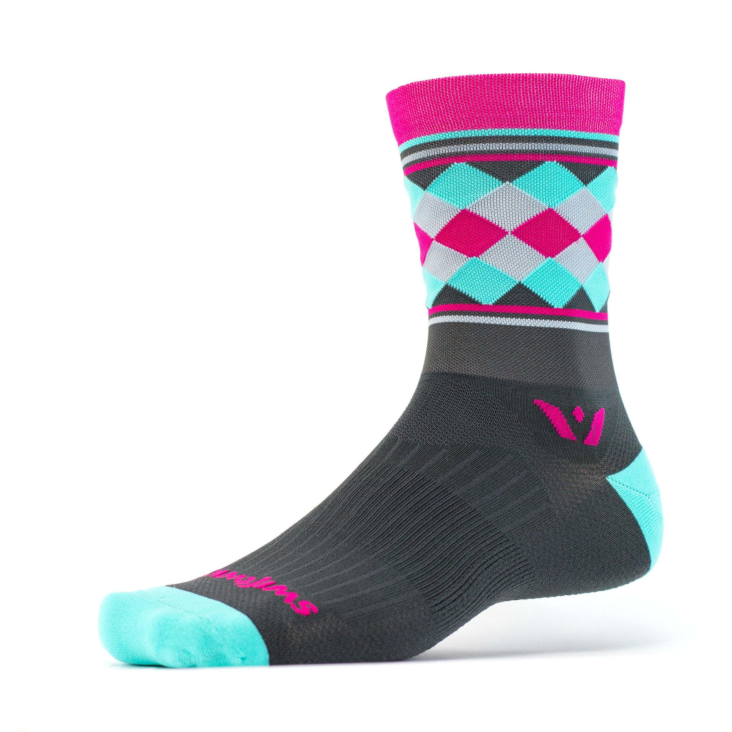 Swiftwick Vision Five Argyle Stripe Crew Socks