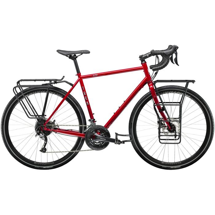 trek 520 red touring bike with front and rear racks
