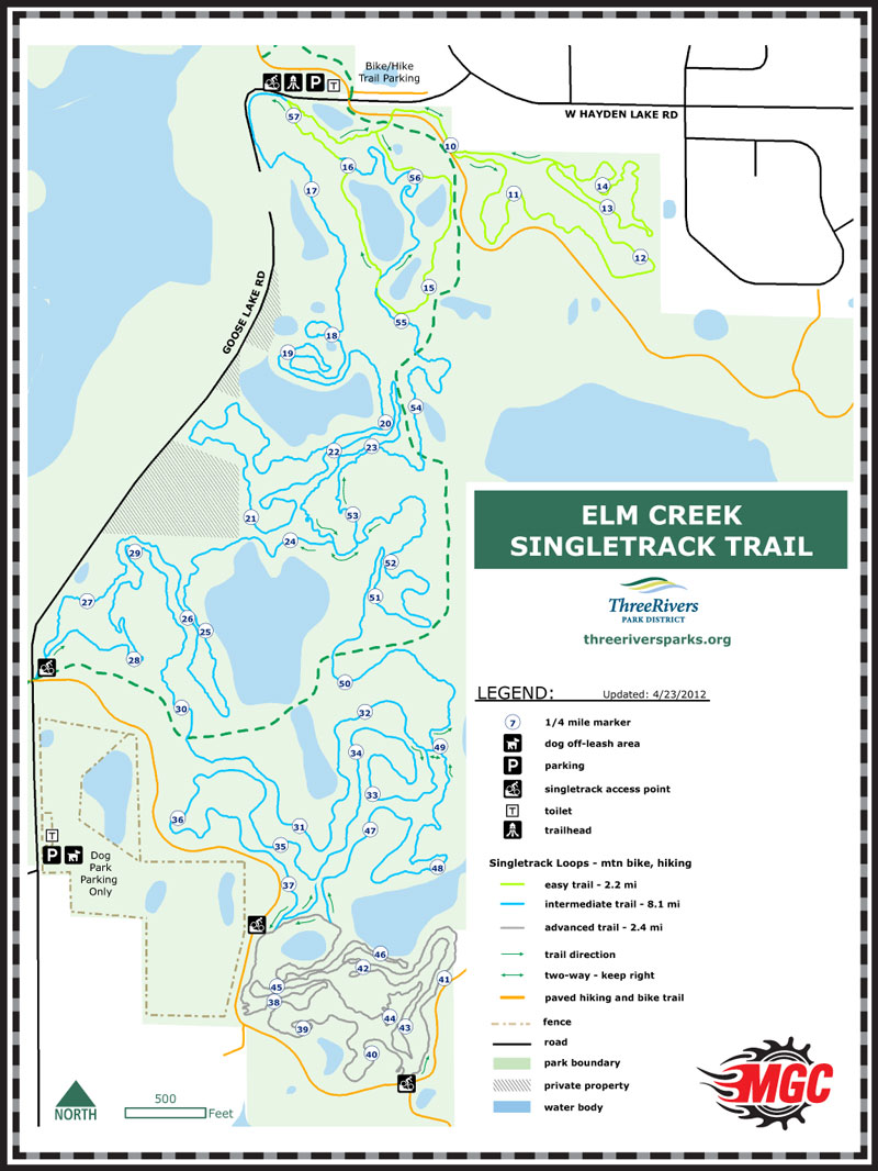 Elm Creek Mountain Bike Park Map