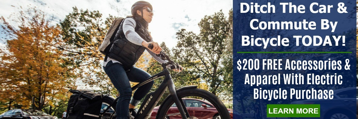 Ditch the car and commute by bicycle today. $200 free accessories and apparel with electric bike purchase. learn more