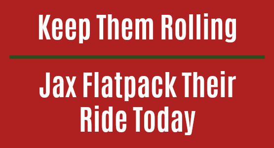 Jax Flatpack their ride today.