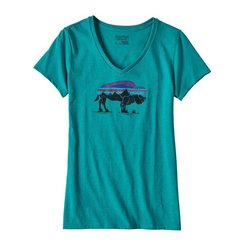 Patagonia W's Fitz Roy Bison Cotton/Poly V-Neck T-Shirt