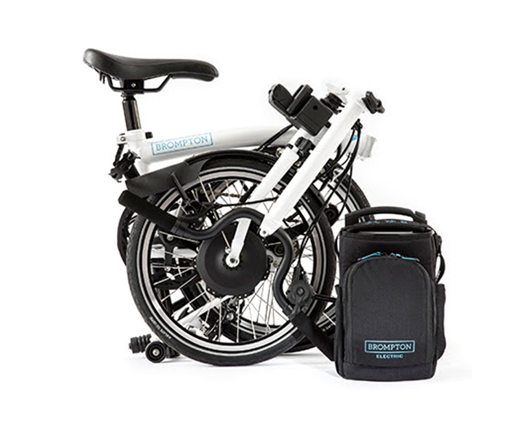 Folded Brompton Electric Bike