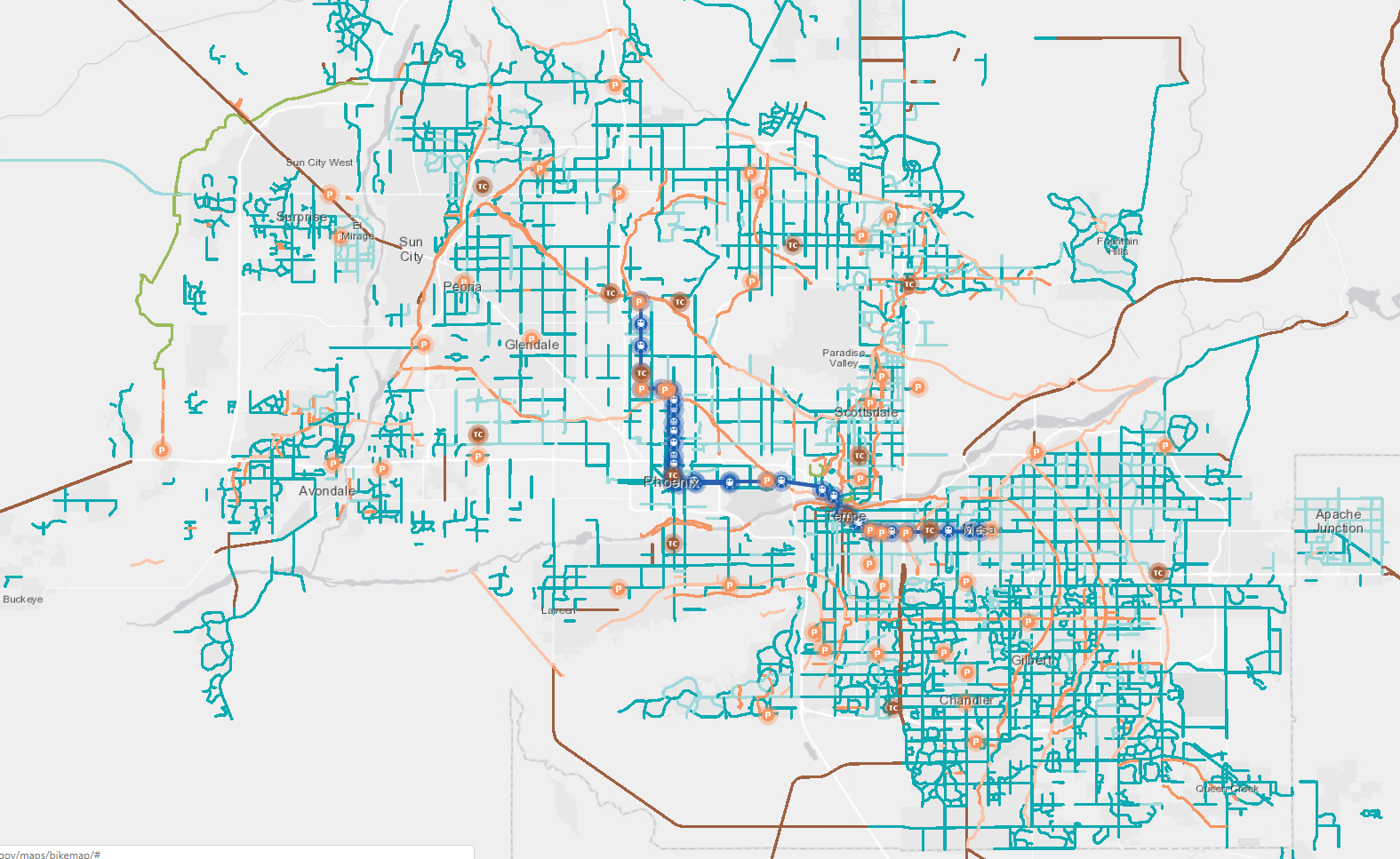 bicycle map, bike trails, az, ebike, electric, az, tempe, mesa, gilbert, chandler, ahwatukee, local