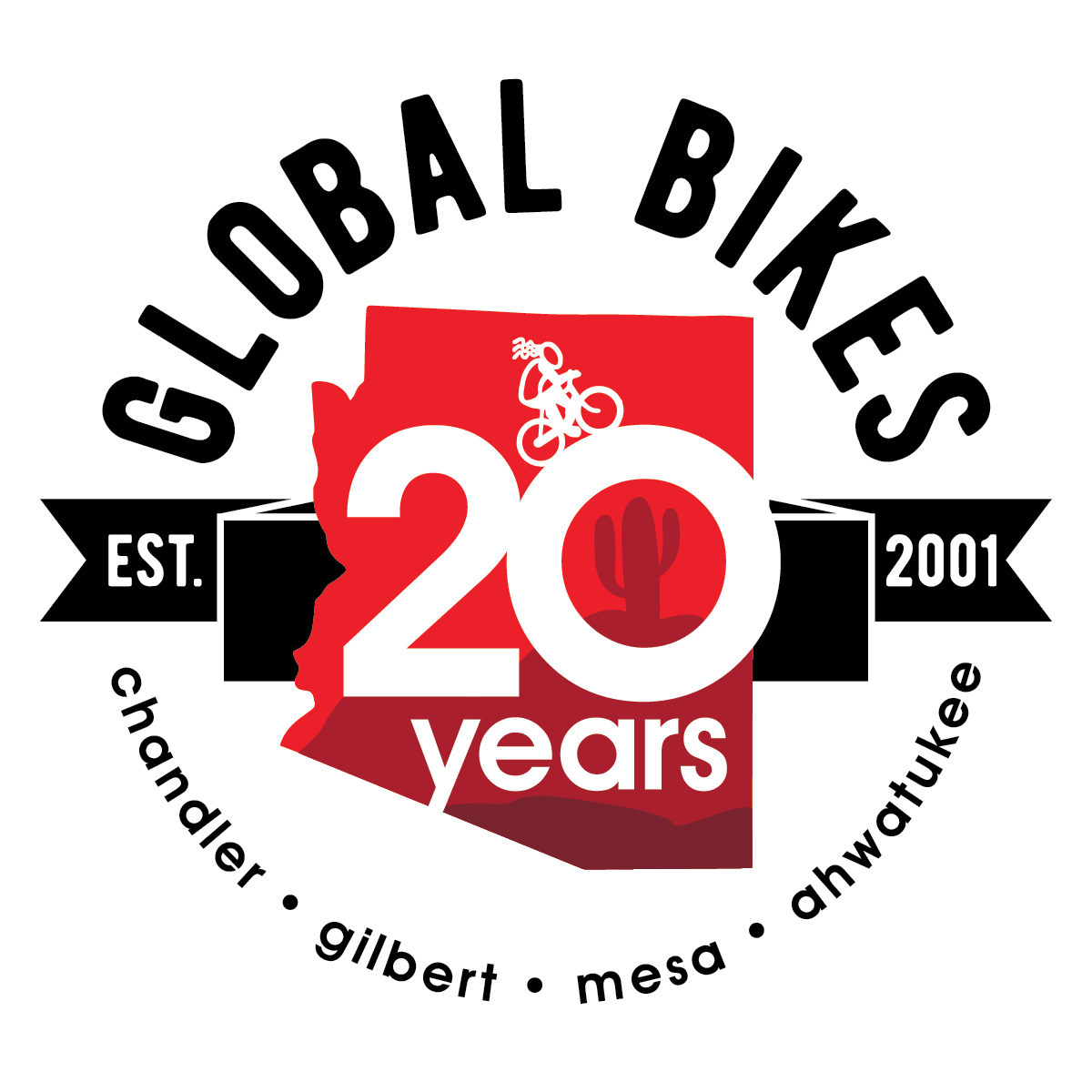 Global Bikes & E-Bikes 20 year anniversary logo - we've got a bike shop near you
