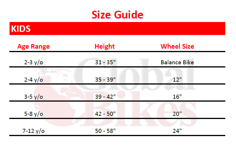 Kid S Bike Sizing Guide Global Bikes Arizona S 1 Specialized