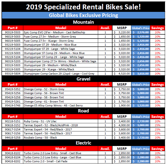 Rental bike sale, Demo bike sale, rental bicycles, rent a bike, rental bicycles for sale, Discount bikes, cheap bicycles, rental sale, Specialized dealer