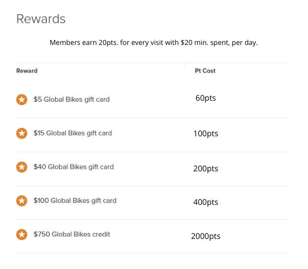 Five Stars Rewards Program | Global Bikes