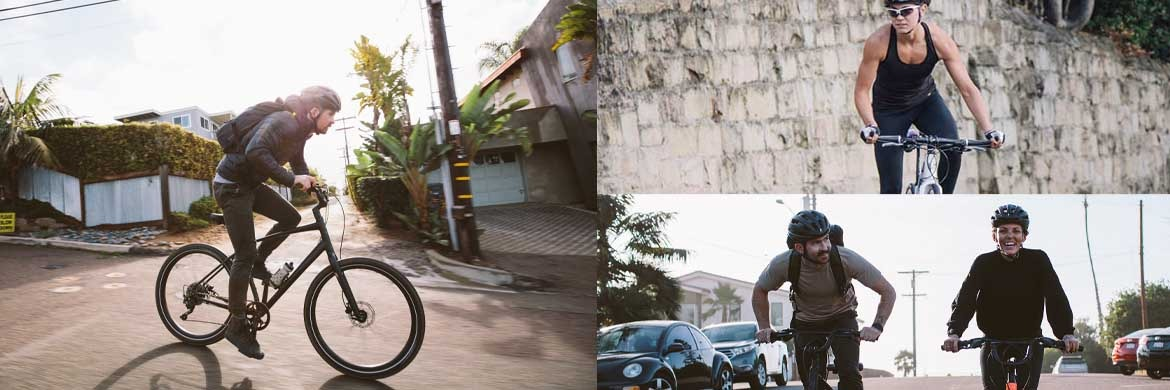 3 different pictures of men and women riding bicycles