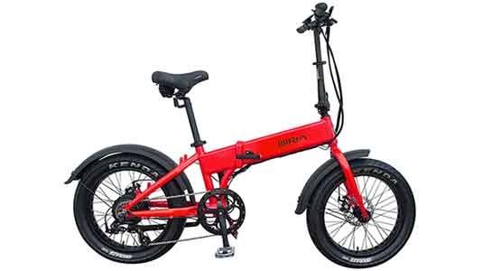 A red Biria folding, electric bike