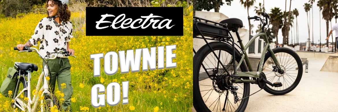 2 pictures of Electra Townie Go electric bikes. One with a woman in a field with the bike the other a green Electra Townie parked at a park