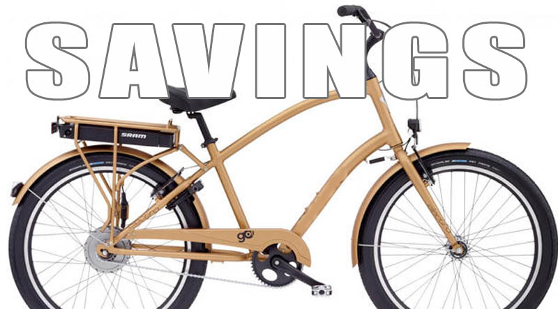 A tan Townie Go electric bike
