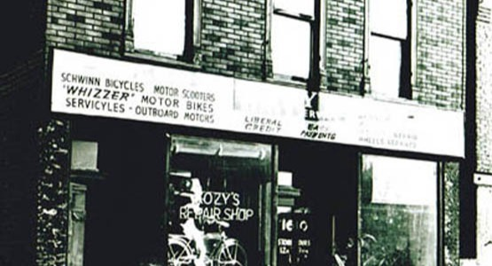 Old Photo of Kozy's Bike Shop circa 1940 with Bike in Window