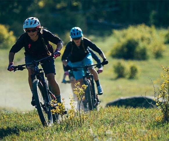 Group of Women Riding Mountain Bikes in Field