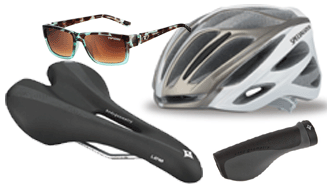 Women's Bicycle Helmet, Saddle, Grip and Sunglasses