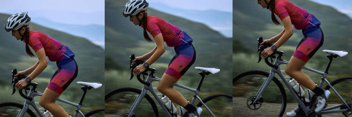 Woman on Specialized Road Bike with Bright Cycling Clothes
