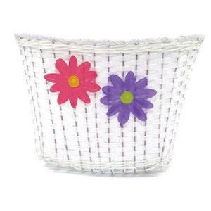 Action Bike Small White Plastic Basket with Flowers / Pink Trim
