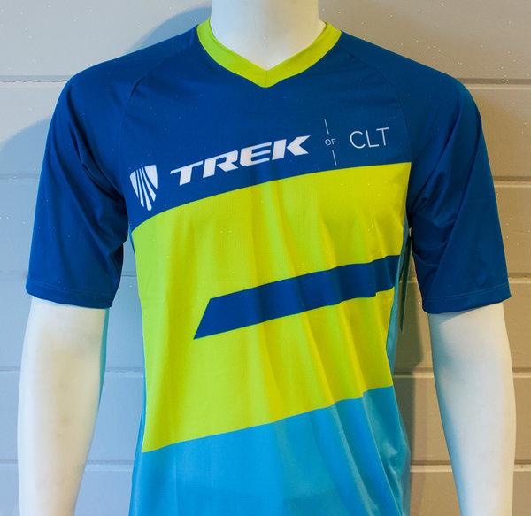 Trek of CLT Men's Custom Bontrager Tech Tee - Blue/Green
