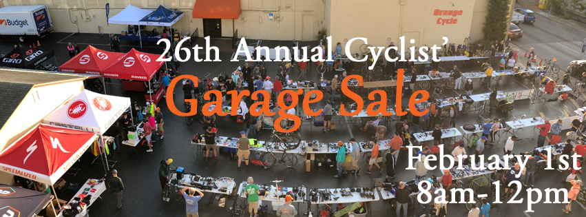 26th Annual Cyclist' Garage Sale - February 1st 8am-12pm
