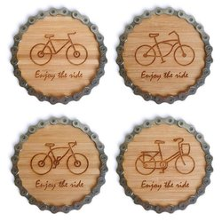 Resource Revival Bicycle Chain Bamboo Coaster Set