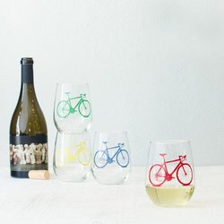 Vital Industries Bicycle Stemless Wine Glass