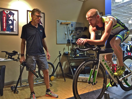 Bike Fitting Professional Greg Pelican optimizing Elite Triathlete Ross Lenehan's Position