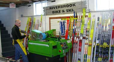 Stone Grinding Skis at Riverbrook Bike and Ski - Seeley, Wisconsin