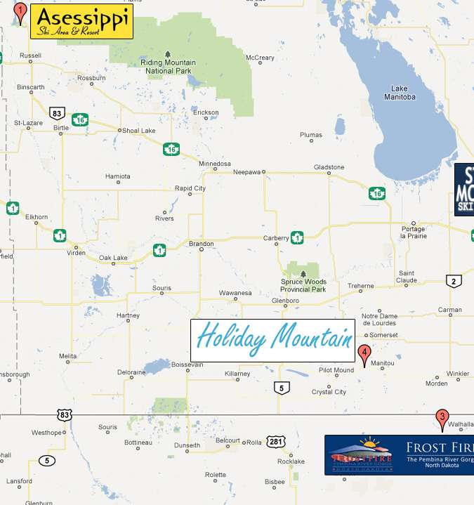 Manitoba Ski/Snowboard Hill Map