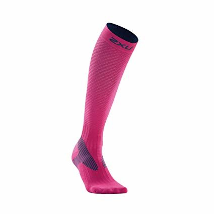 2XU ELITE COMPRESSION SOCKS Color: PINK/GREY
