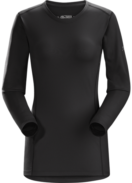 Arcteryx PHASE AR CREW LS Color: BLACK