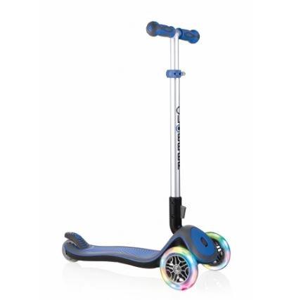 Globber Elite 3 Wheel Folding Adjustable Height Scooter w/ LED Light Up Wheels