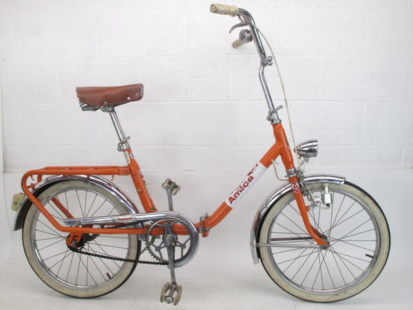 Used Amica Folding Bike Made in Italy Orange Polished