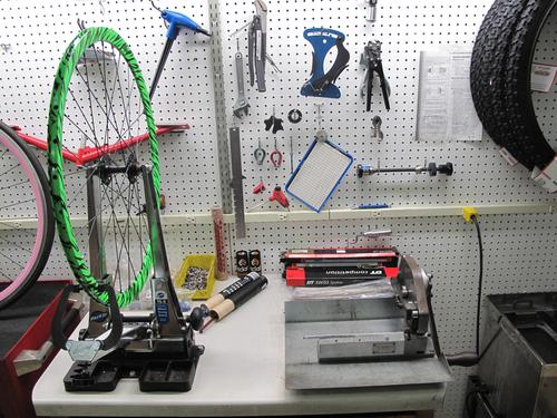 Wheel truing stand at South Shore Cyclery