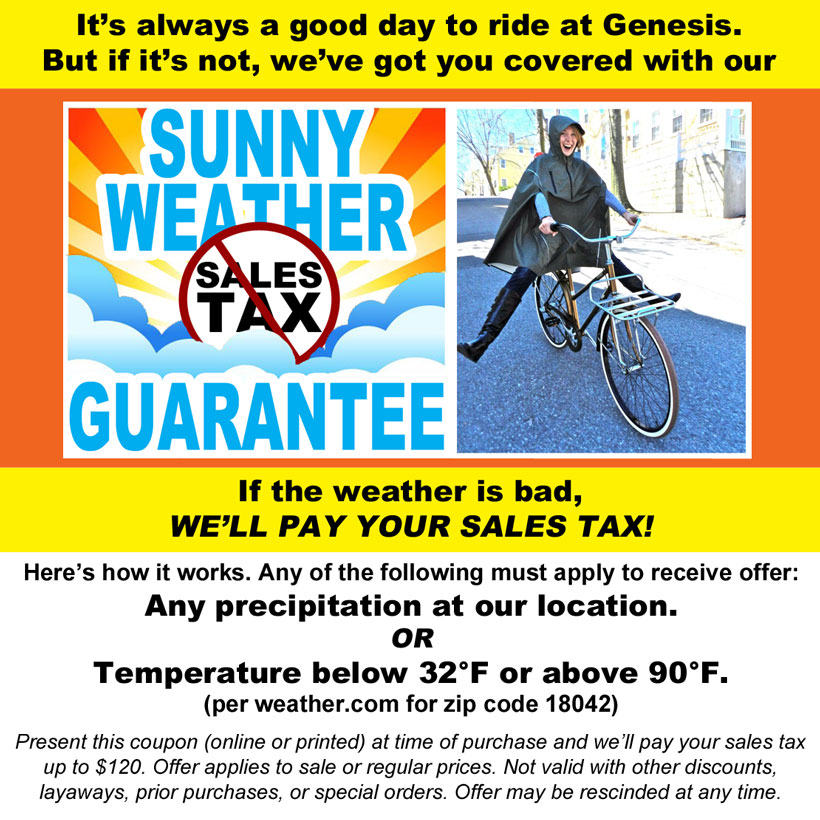 sunny weather guarantee | if the weather is bad, we'll pay your sales tax