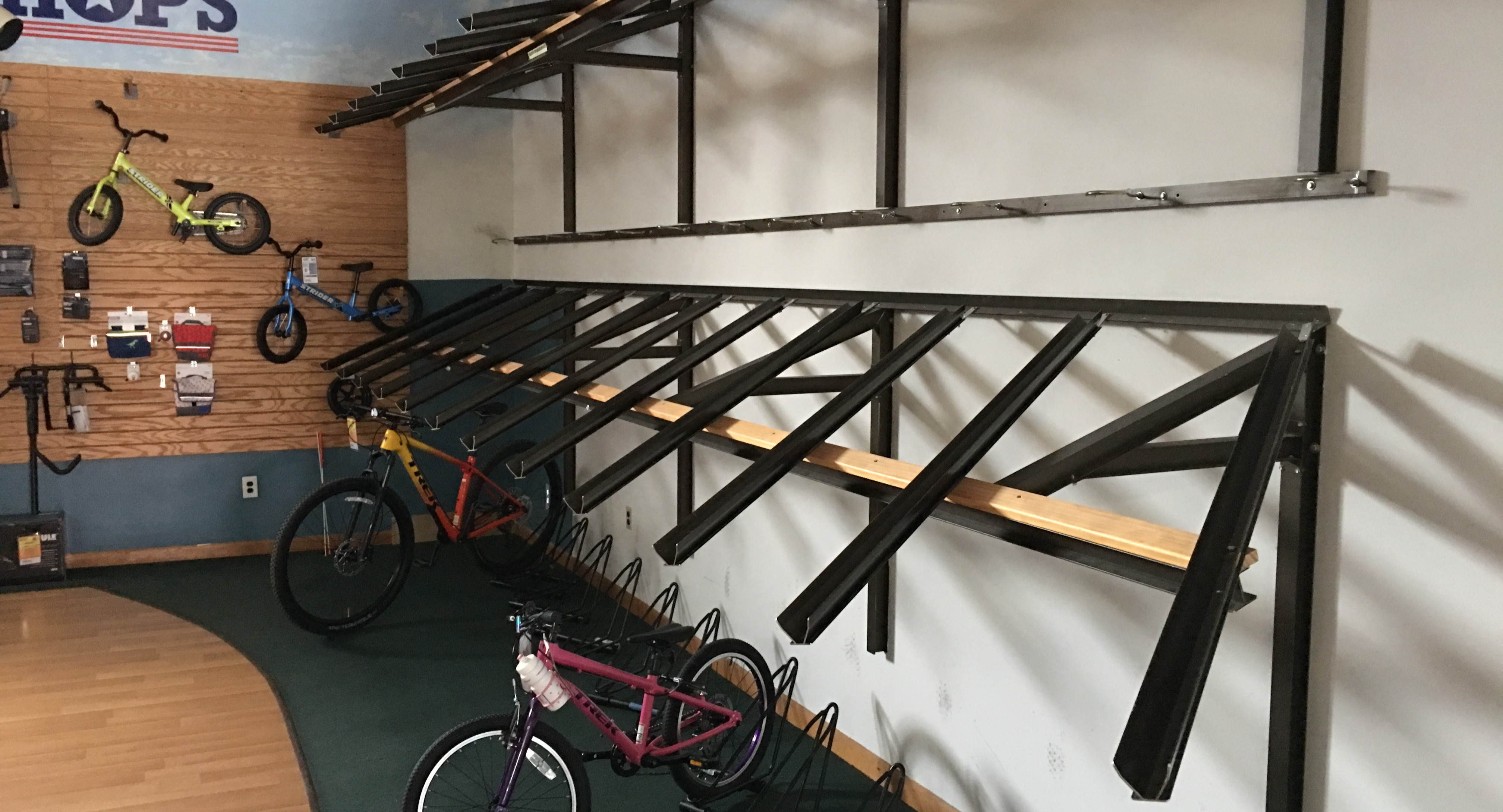 Pandemic bike shortage view of showroom (just stocked with a few bikes)