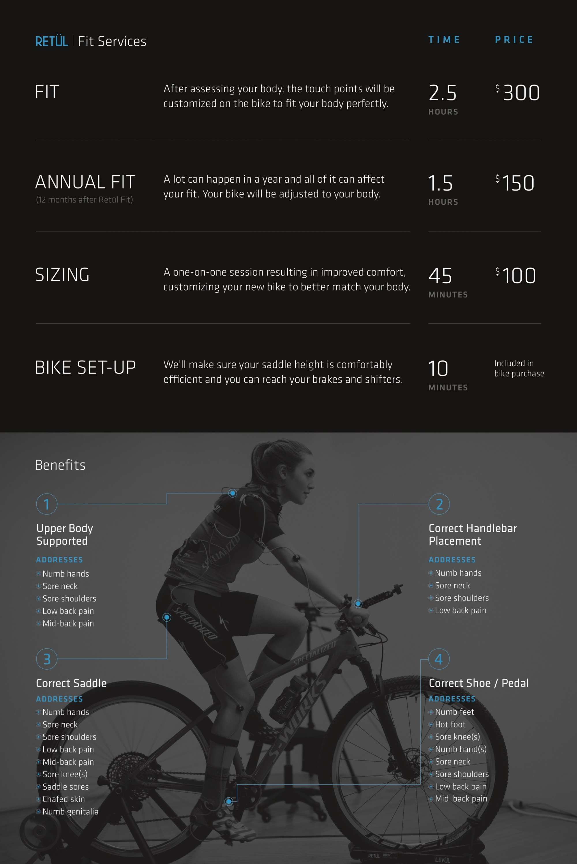 list of Retul Fit services and benefits