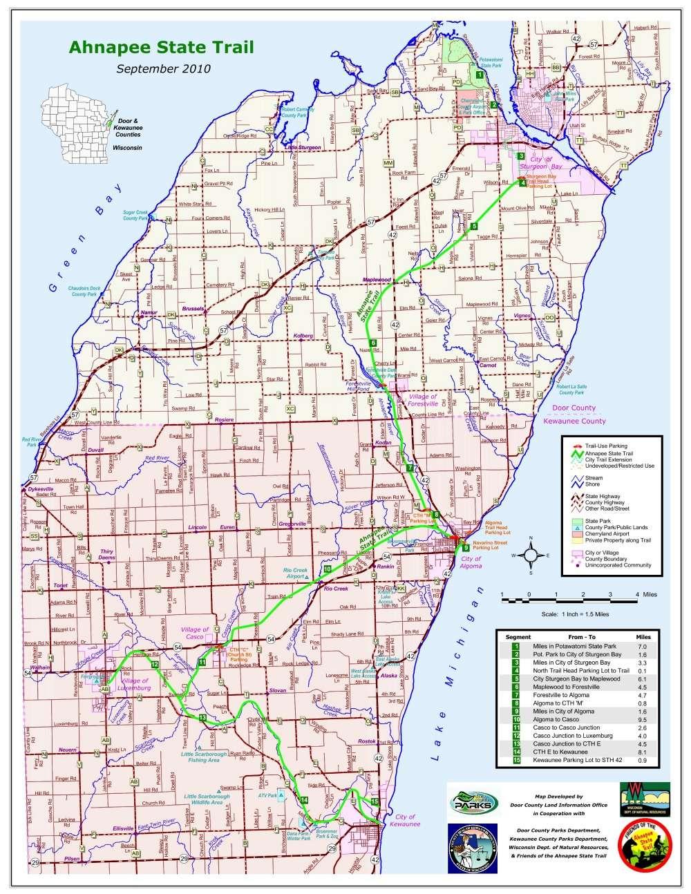 Cycling Maps - Fish Creek Door County Bike and ski Rentals Nor Door on