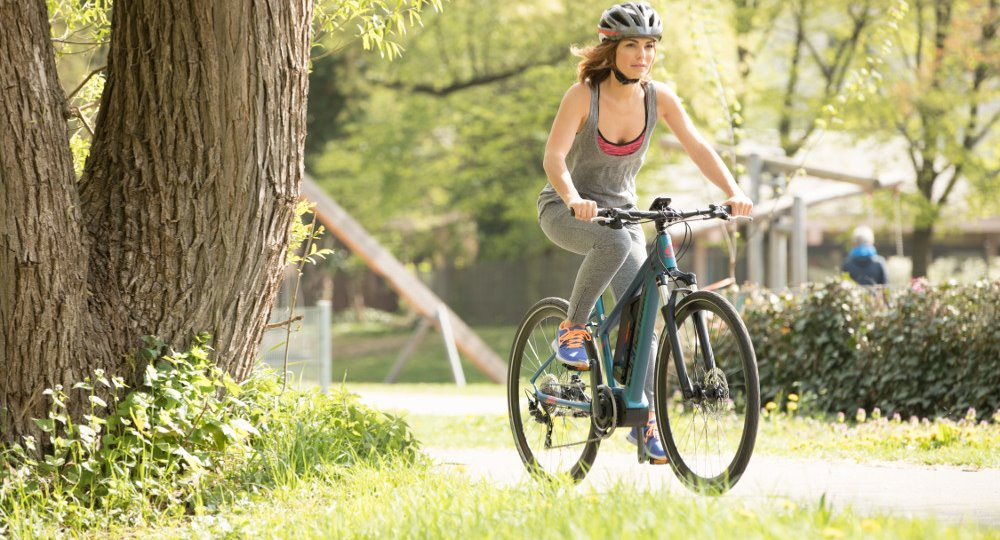 Women Riding E-bike