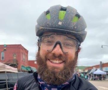Daniel after a muddy gravel ride