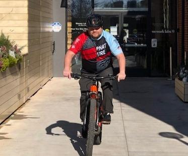 Jeremiah on an E MTB bike