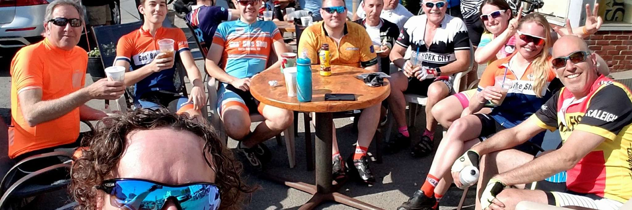 Gus' Saturday shop riders enjoying coffee from KB's
